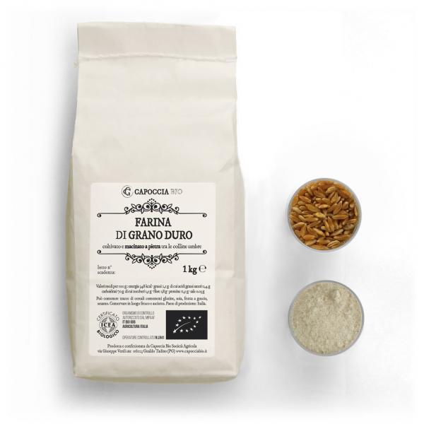 Farina biologica di grano duro, confezione da 1 kg
