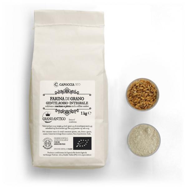 Farina biologica di grano gentilrosso integrale, confezione da 1 kg
