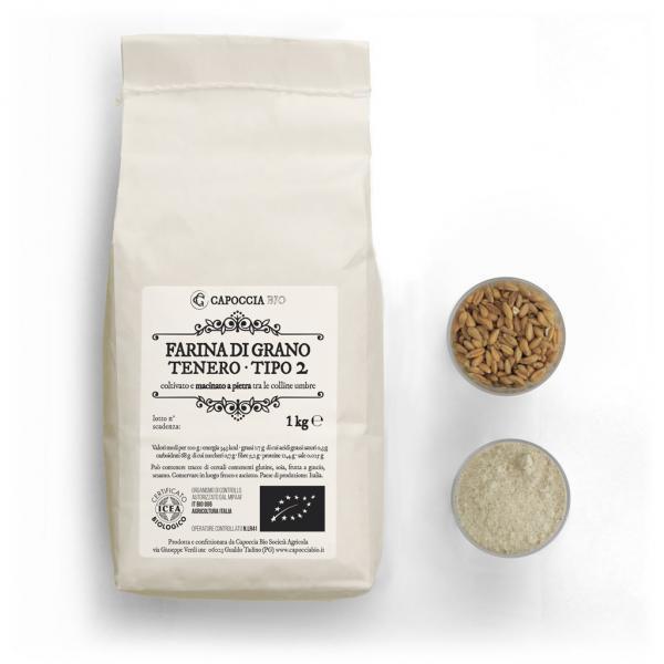 Farina biologica tipo 2 di grano tenero, confezione da 1 kg