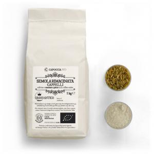 Semola biologica rimacinata di grano duro Senatore Cappelli, confezione da 1 kg