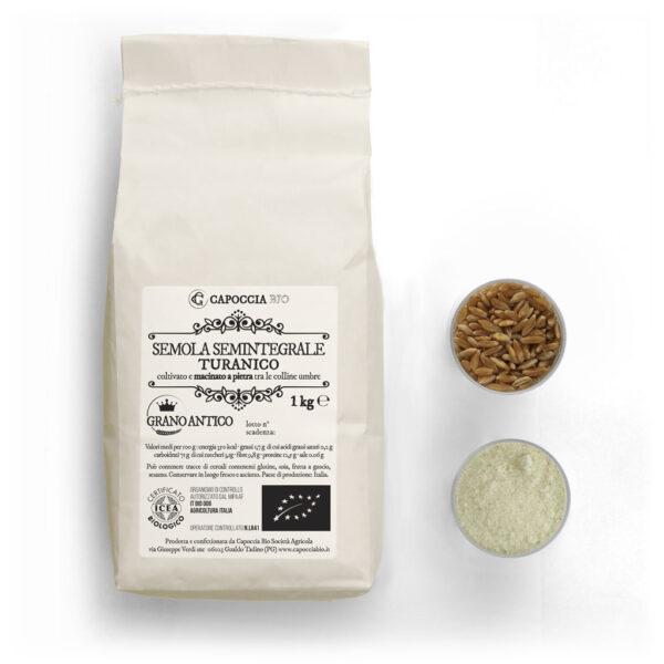 Semola biologica di grano duro Turanico, semintegrale, confezione da 1 kg